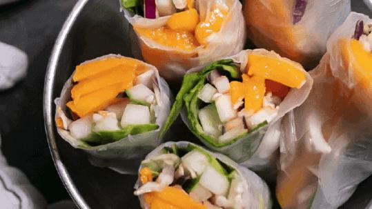 Mango Veggie Spring Rolls with Almond Butter Dip